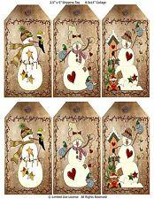 6 Primitive Christmas Snowmen Hang Tags Scrapbooking (91)
