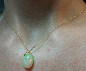 4ct super fire rainbow flash Ethiopian opal cabochon 14k gold necklace pendant