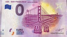 BILLET 0 EURO USA - SAN FRANCISCO GOLDEN GATE BRIDGE 2019-1 NUMERO DIVERS