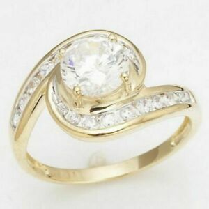 Luxury Round Cut Size 6 White Sapphire 18K Gold Filled Womens Wedding Rings