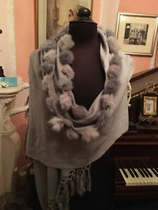 Real Fur Trimmed Shawl / Wrap