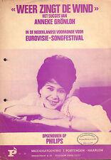 ANNEKE GRÖNLOH - WEER ZINGT DE WIND EUROVISION 1964 (SHEET MUSIC HOLLAND)