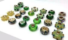 24 Pcs Asst Green Big Hole Glass Beads Fit Pandor European Bracelet
