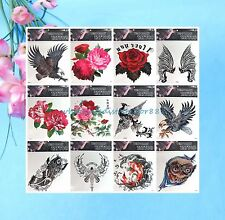 "wholesale 12 sheet eagle rose extra large 9""x9"" Temp Tattoos for Adults"