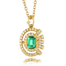 Solid 14k Yellow Gold Emerald Cut Vintage Natural Diamond & Emerald Pendant