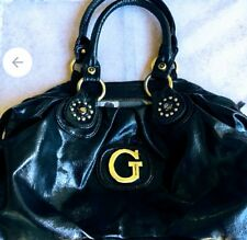 Large GUESS Purse Black PU Leather Hobo satchel shoulder logo handbag