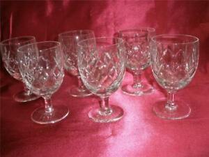 RETRO  24% LEAD BOHEMIA CRYSTAL SHORT WINE  GLASSES X 6  CZECHOSLOVAKIA NEW