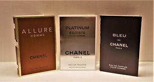 Men's Chanel Bleu De Chanel EDP, Platinum Egoiste, Allure Homme Sample Vial