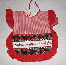 Custom Handmade Toddler Girls Red Daisy Kingdom Print Pinafore Apron 12- 24 Mos