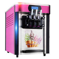 【US】3 Flavor Commercial Yogurt Soft Serve Cones Ice Cream Maker Machine PINK