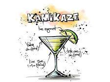 Impresión arte cartel Pintura Dibujo alcohol cóctel receta Kamikaze lfmp0937