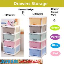 AU 4/5 Tier Drawer Storage Organiser Plastic level  Office Box Cabinet Coloured