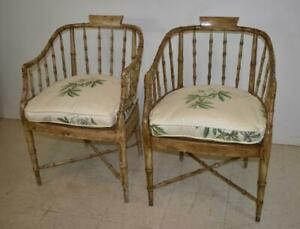 Vintage Pair Bamboo Form Side Chairs Distressed Finish Cane Seat