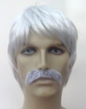 Grey Men's Fancy Dress Wig and Moustache Set (Mexican Style)