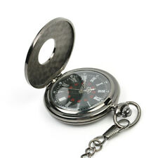 Creative Antique Silver Quartz Necklace Pendant Pocket Watch Gift Retro Chain
