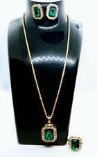 Rhinestone Studded Faux Emerald Stone Necklace and Ring earring Set in Gold-Tone