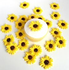 6 Sunflowers Cake Toppers - Edible Sugar Summer Wedding Cupcake Decorations