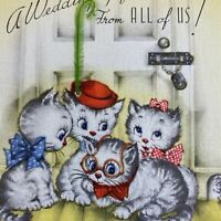 Vintage Mid Century Greeting Card Cute Kittens Cats Wedding In Hats Bows Glasses