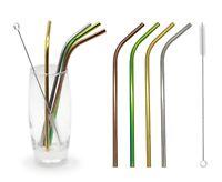 Eco-Friendly Reusable Stainless Steel Straws Brush Set Bent Metal Straws Mixed