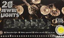 20 LED Luces Cuerda Diamante Joya-Operado Por Batería-uso en interiores