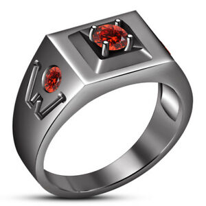 1.00 Ct Round Cut Red Garnet 14K Black Gold Finish Men's Wedding Pinky Ring Band
