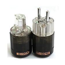 A Pair Series Platinum Plated  P-004E + C-004 IEC EU Power plug Connector DIY