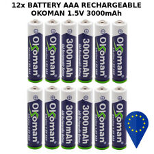 12x BATTERY 0K0MAN AAA 3000mAh 1.5V BATTERIA RECHARGEABLE ALKALINE MINI STILO