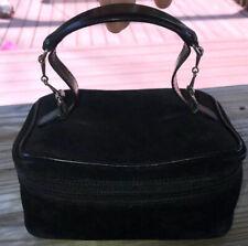Authentic Gucci Horsebit Black Suede Leather Vanity Bag Cosmetics Case Makeup