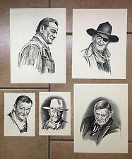 VINTAGE LOT OF 5 JOHN WAYNE SKETCHES Signed: BD (Artist: Bob Dale)