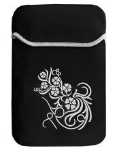 Housse néoprène noire motif fleur pour tablette
