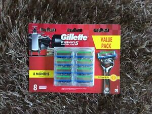 GILLETTE FUSION PROGLIDE POWER 8 PACK(1X8 PACK) GENUINE MADE IN GERMANY
