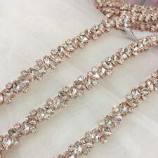 1 Yard Thin Bead Rhinestone Crystal Trim for Wedding Bridal Sash Bridesmaid Belt 1yard Rose Gold