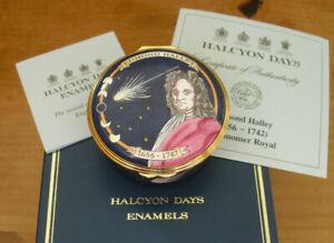 "Boxed Ltd Ed Halcyon Days Edmond Halley 350th Anniversary Enamel Box - 2 1/4"""