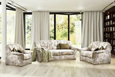 Sofa Couch  Garnitur 3-2-1 Bahia - Braun - Microfaser