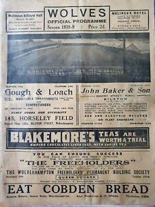 1938/9 - Wolverhampton Wanderers v Sunderland