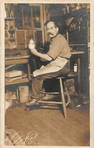 G68/ Occupational RPPC Postcard c1910 Interior Glass Blowing? Worker 24