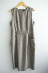 Farage Sleeveless Prince Of Wales Check Light Grey Lightweight Wool Dress sz 14