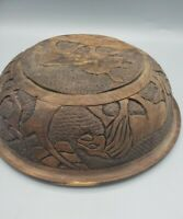 Wood Carved Bowl Africa Outline Map Rhinoceros Lion Safari Trees Animals
