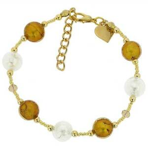 GlassOfVenice Murano Glass Beatrice Bracelet - Topaz Gold