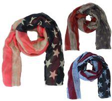 Damen Schal Vintage Design USA Flaggen Muster Damen Herbst Winter