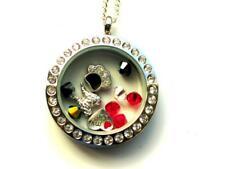 Dog 'Rainbow Bridge' Angel Wings pendant locket with charms & Swarovski beads.