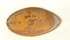 DISNEY 1988 MICKEY 60th BIRTHDAY NOV. 18 1988 ELONGATED PRESSED RTD PENNY DW0007