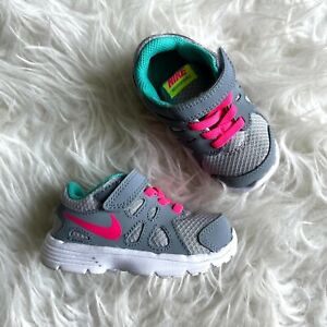 Nike Baby Girls Size 5C Revolution 2 Shoes Sneakers Stretch Laces Gray Pink Blue