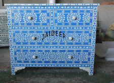 Handmade Bone Inlay Floral Blue Sideboard/Cabinet 4 Drawer