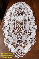 CHEMIN DE TABLE BRODE MAIN DENTELLE AUX FUSEAUX OVALE  40 CM  90 blanc*