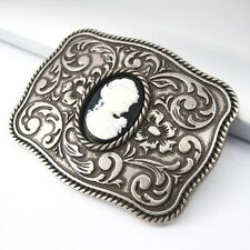 Vintage Silver Alloy Wild West Cameo Saloon Madame Western Belt Buckle GIFT BOX