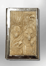 Stainless Steel Carved Feathers two Eagle Heads one Wolf Business Card Holder