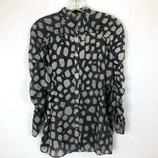 Club Monaco Womens Silk Long Ruched Sleeve Button Front Blouse Spots XS