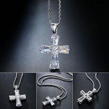 CHSOUL 925 Sterling Silver Plate Crystal Cubic Zirconia Cross Necklace Pendant