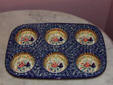 Genuine UNIKAT Signed Polish Pottery Muffin Pan! Butterfly Summer Pattern!